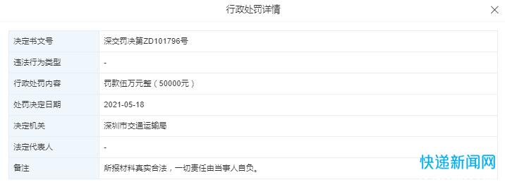 丰巢科技被深圳交通运输局行政处罚5万元